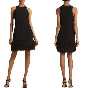 TAYLOR Sleeveless Little Black Dress Ruffled Hem